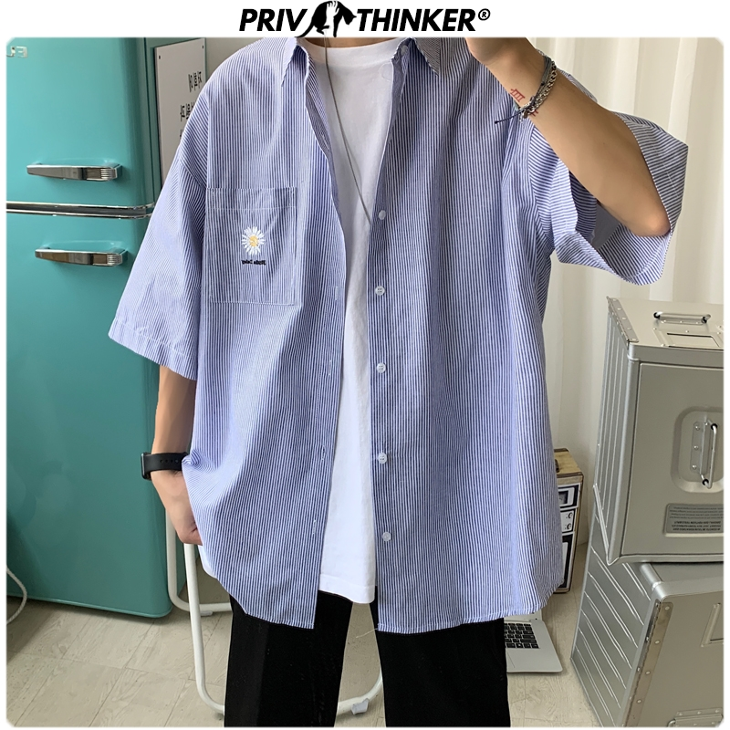 Privathinker Men Casual Summer Daisy Embroidery Shirts 2020 Men Korean Short Sleeve Streetwear Couple Clothes Male Shirts Tops