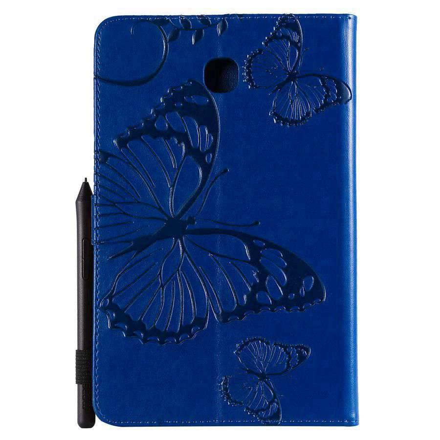Flip PU Leather Case For Samsung Galaxy Tab A 8.0 2018 SM-T387 Cover For Samsung Tab A 8.0 Emboss Butterfly Wallet Case+Film+Pen