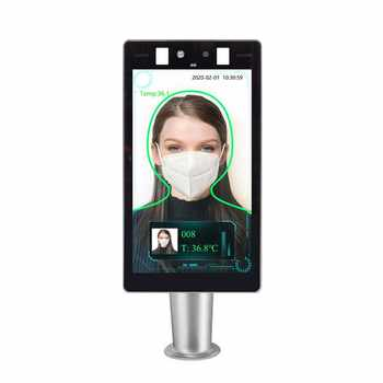 Face recognition temperature measurement attendance machine 8-inch thermal fever scanner system