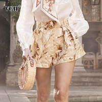 VGH Print Floral Shorts For Women High Waist With Sashes Lace Up Large Size Korean Short Pants Female Autumn Fashion New 2019