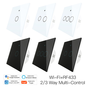 86 model New Upgraded WiFi Wall Touch Smart Light Switch Smart Life/Tuya 100-250v Wifi+Bluetooth Mode Backlight Optional