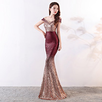 shining Sequin Dew shoulder Evening Dresses fashion gradient Sexy Formal evening Dress Party Mermaid long evening Gown