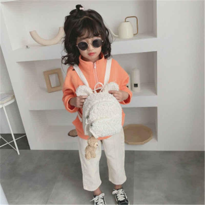 Nowość moda maluch Kid dzieci chłopiec dziewczyna wełniany plecak z nadrukiem zwierząt plecak szkolny