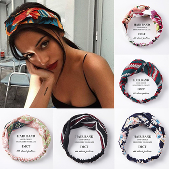 Women Hair Accessories for Baby Fashion Headband Fabric Cross Knotted Bow Chiffon Floral Band Korea Headdress ladies Hoop