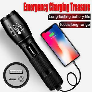 LED Flashlight Xhp50-Torch Powerful Usb Rechargeable Mini Waterproof Size Lamp Zoomable