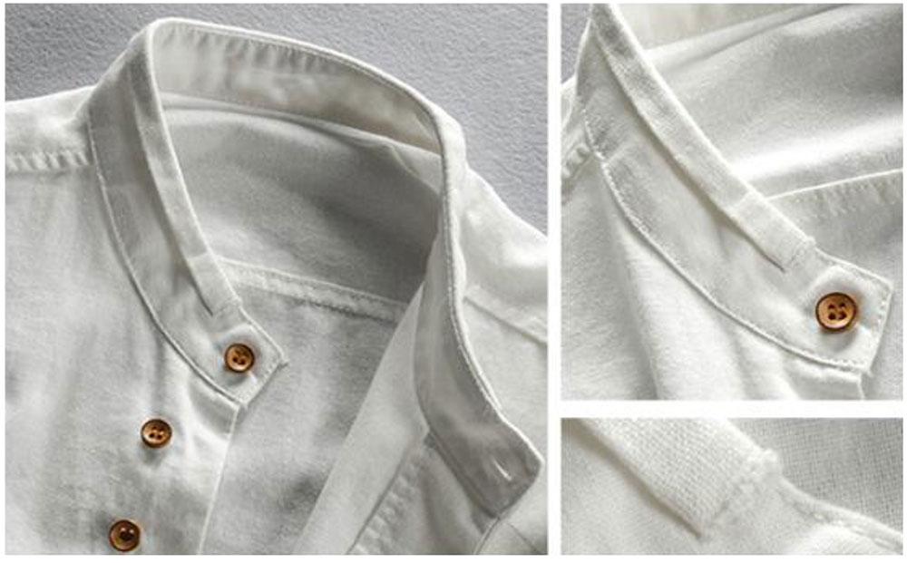 Ha4af55c4a66f408ab01b90ed12caf157u New sexy Men's Cotton Linen Shirts Long Sleeve Men Casual Slim Mandarin Collar Shirts Summer Beach Shirt plus size 6xl