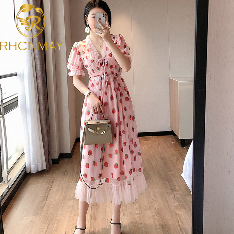 Sexy V-Neck Belt Strawberry Hot stamping Short Sleeve Party Mid-Length Dress Net Yarn Summer New Women'S Clothing