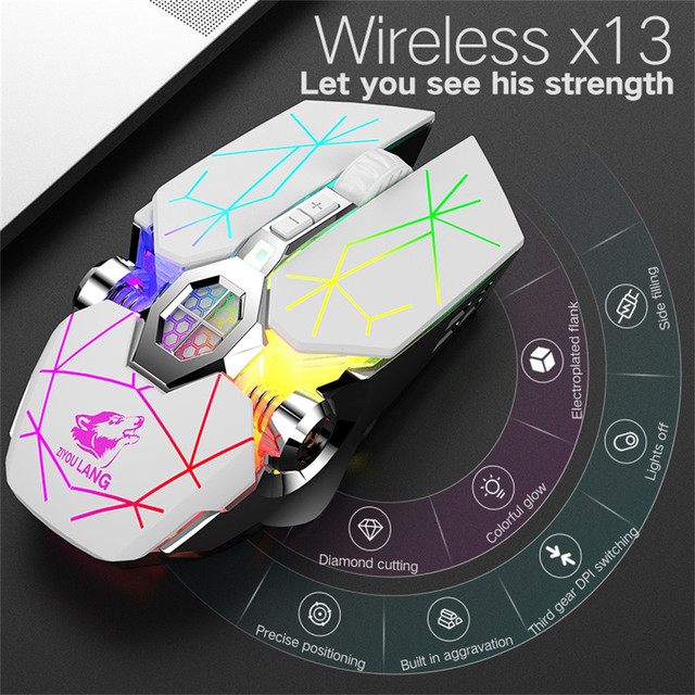 Wireless Rechargeable Game Mouse Mute Liquid-cooled Shining Mechanical Mice Mouse 2.4GHz Ergonomic Mice For Laptop PC Mouse#T2 1