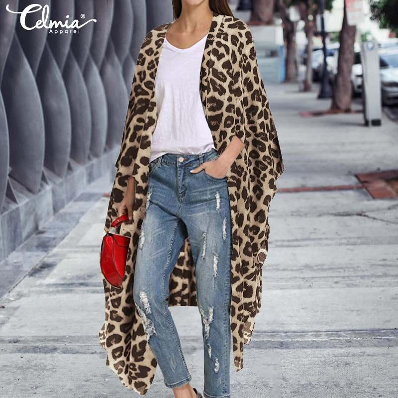 Plus Größe 2019 Celmia Frauen Vintage Kimono Strickjacke Lange Shirts Sexy Leopard Print Blusen Hülsen-beiläufige Strand Cover Up