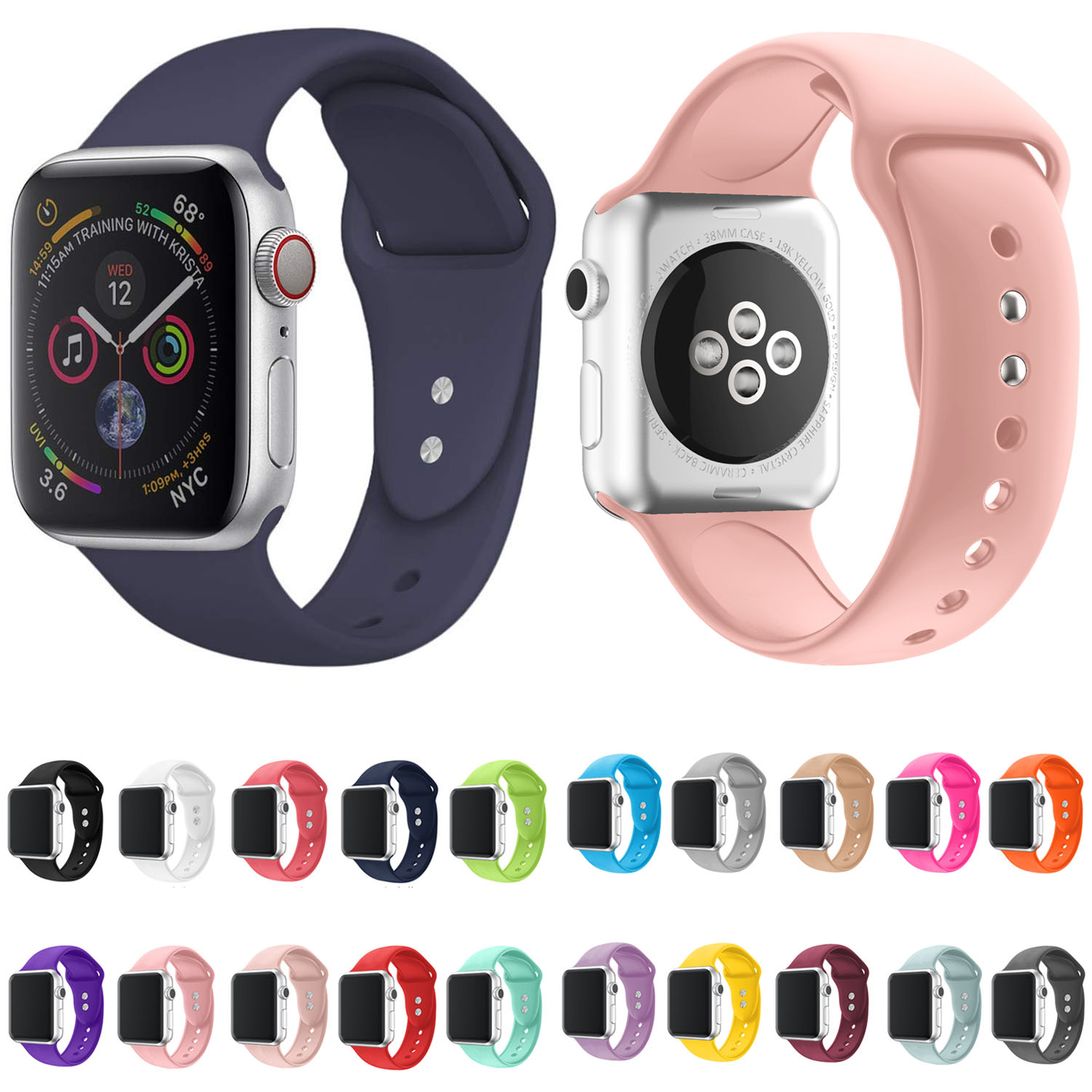 Silicone Band For Apple Watch Series 4 5 3 2 1 Replacement Sport Strap Rubber Wristband For IWatch 38mm 42mm Watchband 40mm 44mm