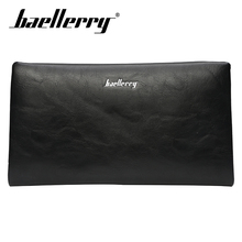 Baellerry Wallet Men Business Solid Long PU Leather Zipper Porta Rope Clutch Bag Card Holder Note Compartment