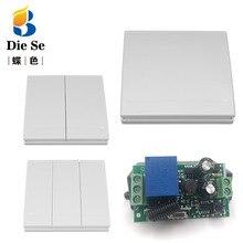 Универсальный беспроводной пульт дистанционного управления 433 МГц 86 настенный панельный радиочастотный передатчик 1 2 3 кнопки и 220 В 1CH релейный приемник переключатель