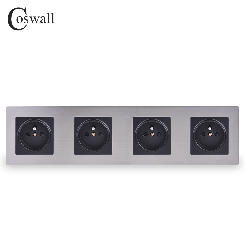 COSWALL Stainless Steel Panel 4 Gang Wall Socket...