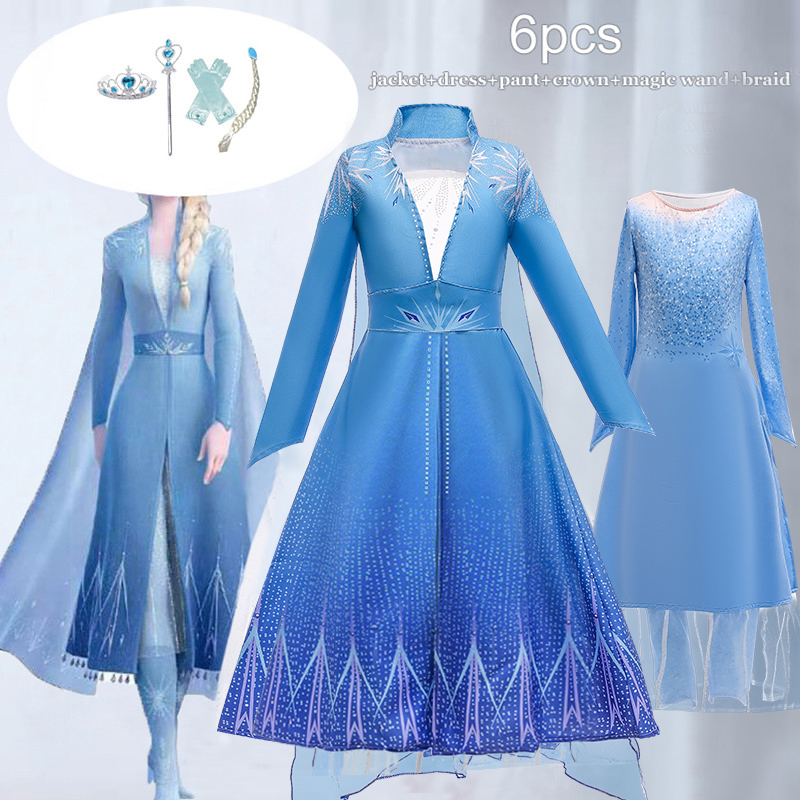 New Elsa <font><b>Dresses</b></font> For <font><b>Girls</b></font> Carnival Costume Kids <font><b>Dresses</b></font> for Children Christmas Cosplay <font><b>Birthday</b></font> Party <font><b>Dress</b></font> 4 5 <font><b>6</b></font> <font><b>7</b></font> 8 9 10 <font><b>Year</b></font> image