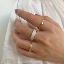 Bohemian 3 adet/takım beyaz emaye yuvarlak Metal halka setleri geometrik büküm açık ayarlanabilir yüzük kadınlar için setleri kız takı hediyeler