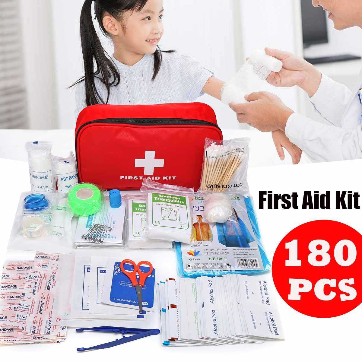 New 180 In 1 First Aid Kit Portable Household Outdoor Safe Car First Aid Bag Kit For Home Office Camping Emergency Survival Kit