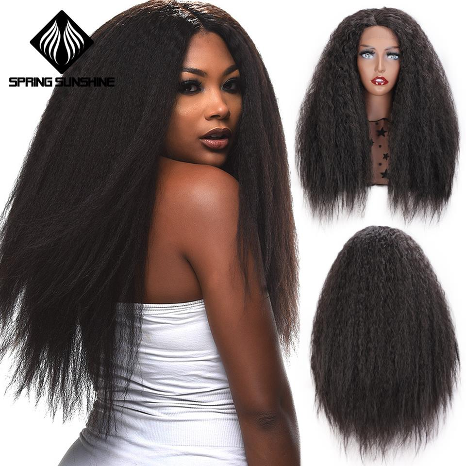 Spring Sunshine 24inch Long Synthetic Lace Front Wig Black Afro Kinky Straight Cosplay Party Daily Wigs For Women