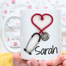 كوب شخصي!! كوب القهوة السماعة ، أكواب هدية مضحك وفريدة من نوعها للممرضات والأطباء ، المطبوعة على كلا الجانبين!