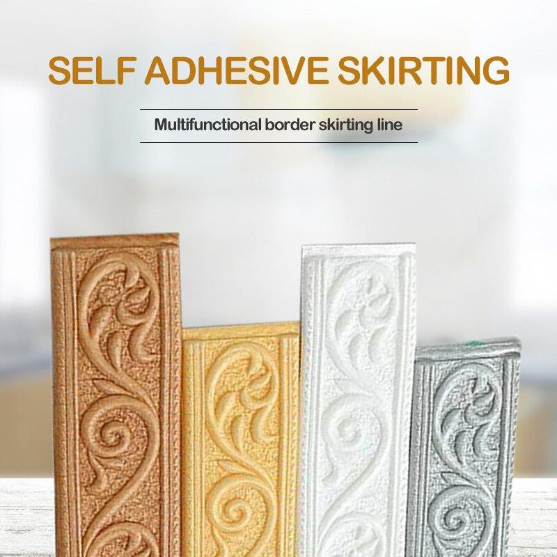 1/2/4pcs Edge Strip Decor Self-adhesive Wall Sticker Embossed Corner Line 2.3m 4cm Waterproof Border 3D Foam Wall Waist Line