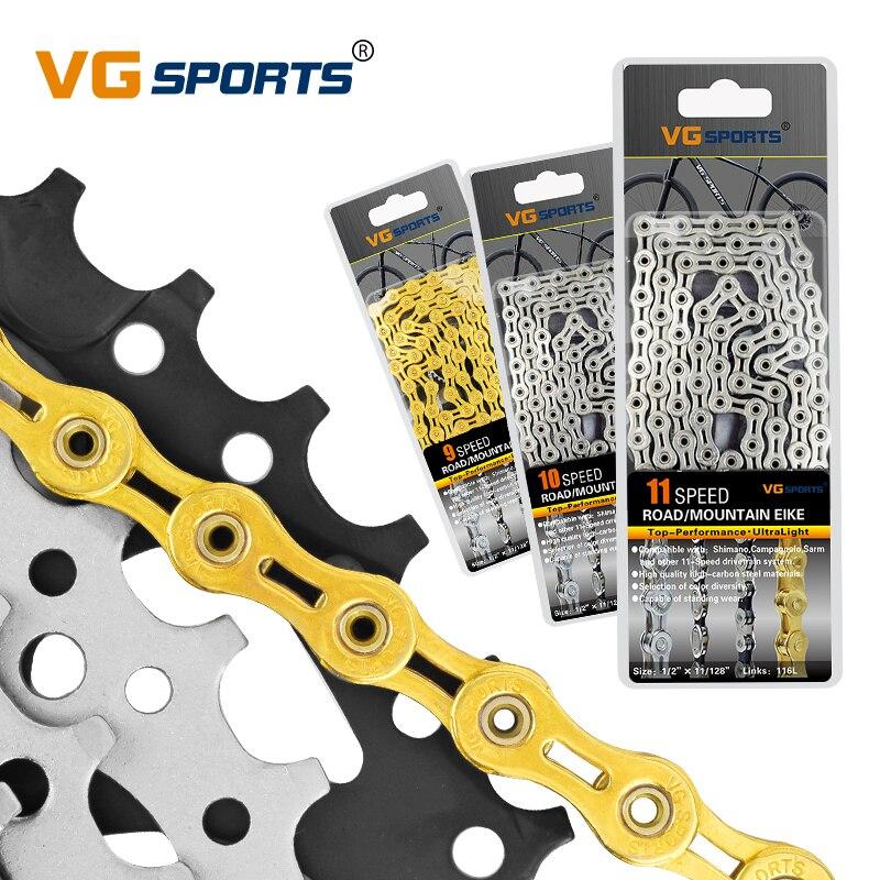 VG sport vélo chaîne pièces de VTT chaîne de vélo 10 11 vitesses Velocidade vtt chaîne 116L EL SL demi/plein creux or argent