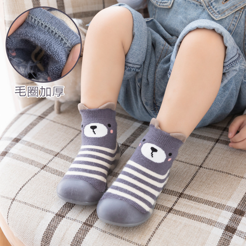Autumn Winter Cute Cartoon Warm Baby Foot Socks Infant Toddler First Walkers Baby Booties