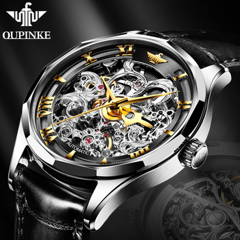 цена на OUPINKE 2020 New men's mechanical watches Automatic Business Watches men watch luxury brand Sapphire Skeleton Hollow wrist watch