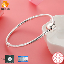Luxury real 100% Real 925 Sterling Silver Bracelet Bangle Wedding Jewelry Snake Bone Fit DIY Charm Bead for Women Gifts
