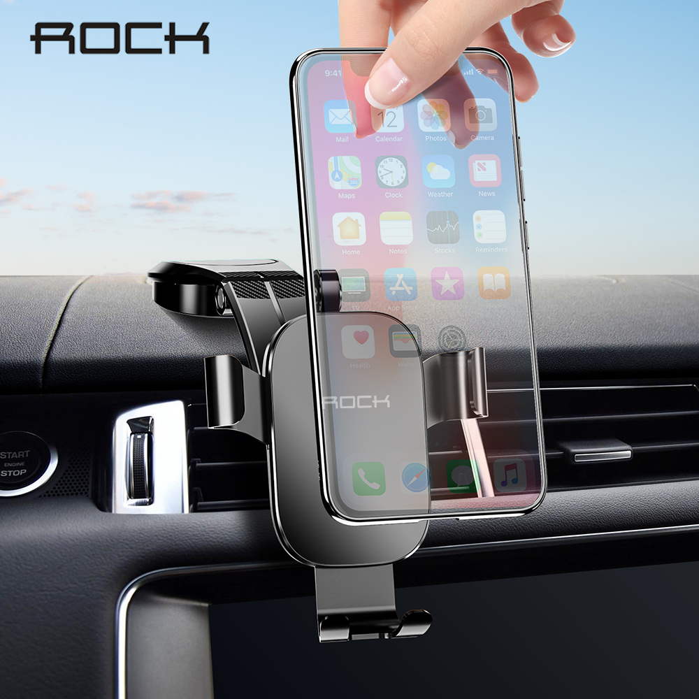 ROCK Metal Car Phone Mount Holder For IPhone Samsung Foldable Gravity Mobile Phone Holder For Dashboard Paste Car Holder Stand