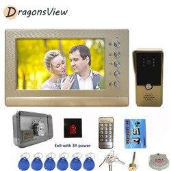 DragonsView wideodomofon z blokadą 7 Cal przewodowy Monitor z panelem dzwonka 1000TVL odblokuj kamerę do wideodomofonu
