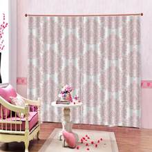 Curtains for Bedroom Half Blackout Curtains for Living Room Pink Printed European Style Window Drapes Customizable any size(China)