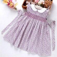 Sommer mädchen gesmokt kleid floral rüschen baby raucher blume handgemachte kinder kleider baumwolle kinder kleidung boutiquen