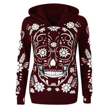 Women Hooded Sweatshirt  Plus Size Long Sleeve Skull Print Pullover Blouse Tops 7.26