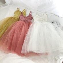 2021 verão nova chegada meninas moda sólida vestido crianças tutu princesa vestidos sem mangas