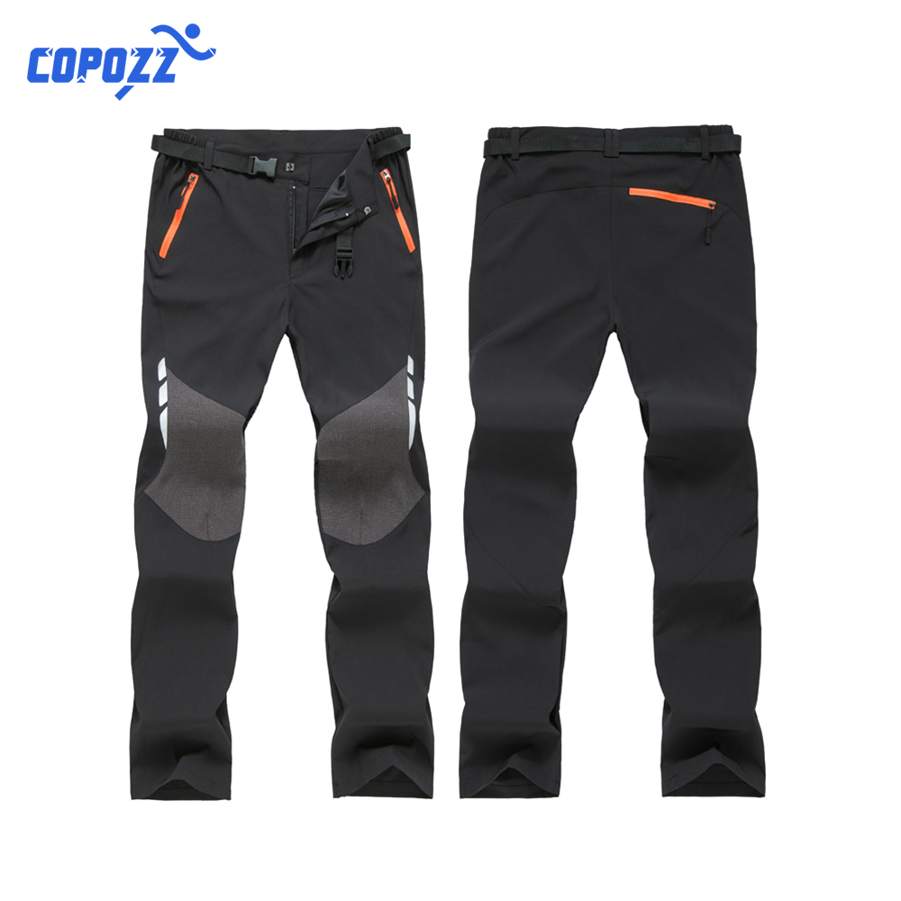 COPOZZ Oversized Men Thin Fleece Waterproof Outdoor Pants Soft shell Trousers Camp Fish Trekking Climb Hiking Sport Travel Train image