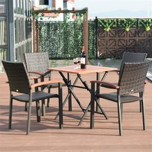 2 pcs Patio Dining Armchair Stackable Rattan Wicker Chairs Environment-friendly PE Rattan Chairs Aluminum Frame HW59991-2(China)