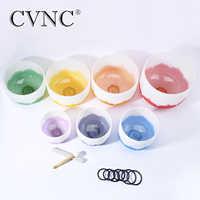 """CVNC 6 """"-12"""" Chakra abgestimmt set von 7 stücke Frosted Quarz Kristall Klangschalen"""
