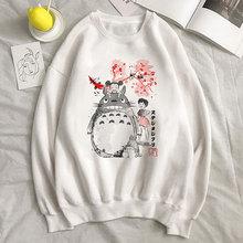Totoro Spirited Away bluza z kapturem Studio Ghibli kobieta japońskie Anime kobiety bluza drukuj bluzy z kapturem z motywem kreskówkowym białe topy kobiety ubrania tanie tanio CDJLFH Poliester spandex CN (pochodzenie) REGULAR Pełna Suknem sudaderas para mujer kpop oversized goth gothic moletom feminino