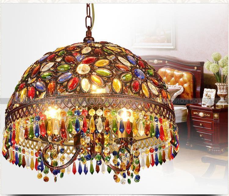 12inch Bohemia Mediterranean Retro Multicolor Bronze Wrought Iron Pendant Lamp Restaurant Bedroom Lamp deco maison