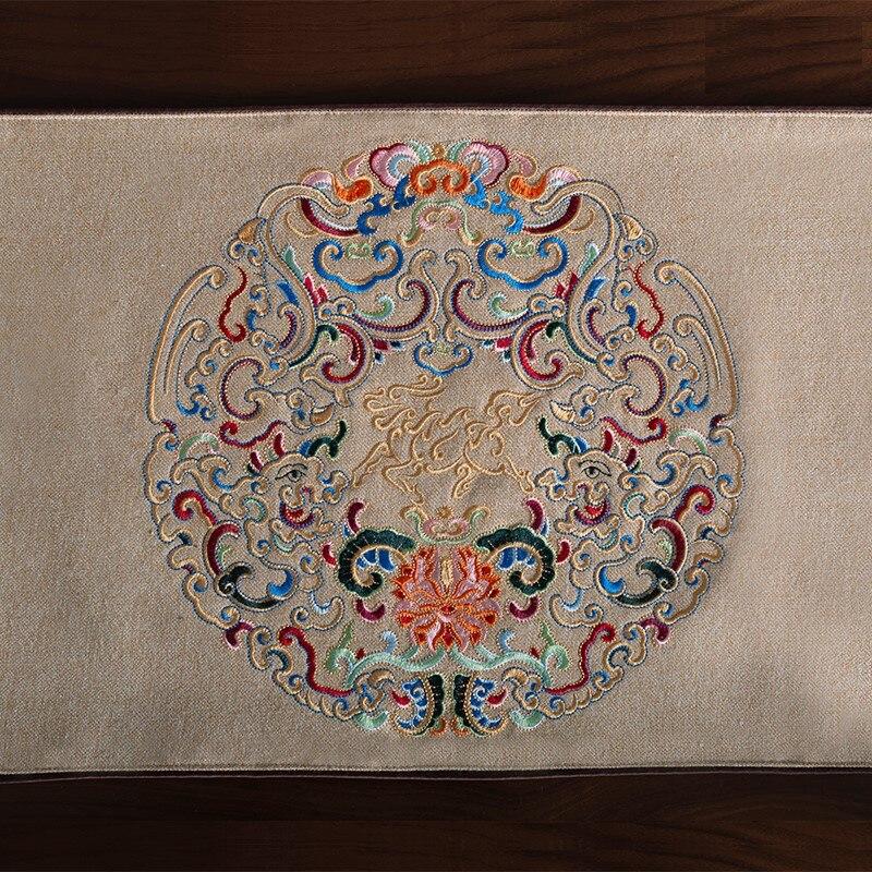 Украшение для дома современный льняной настольный бегун Роскошная изысканная вышивка льняной настольный бегун с кисточкой - 3