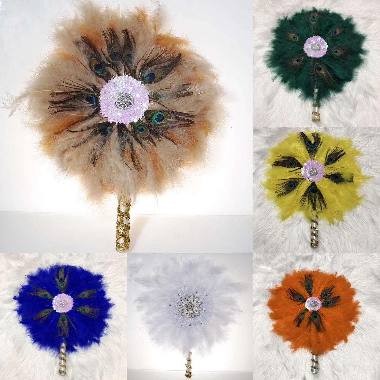 Custom Hand Fan With Feather Lace Dance Fans Spain Style Abanico De Mano With Sequin Stone Handmade Wedding Feather Photo Props