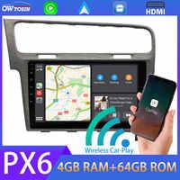 Radio con GPS para coche, Radio con Carplay automático, HDMI, 10,1 pulgadas, PX6, 4G + 64G, Android 10, para VW Golf 7, MK7, 2013, 2014, 2015, 2013, 2014, 2015, 2016, 2017, 2018, 2019