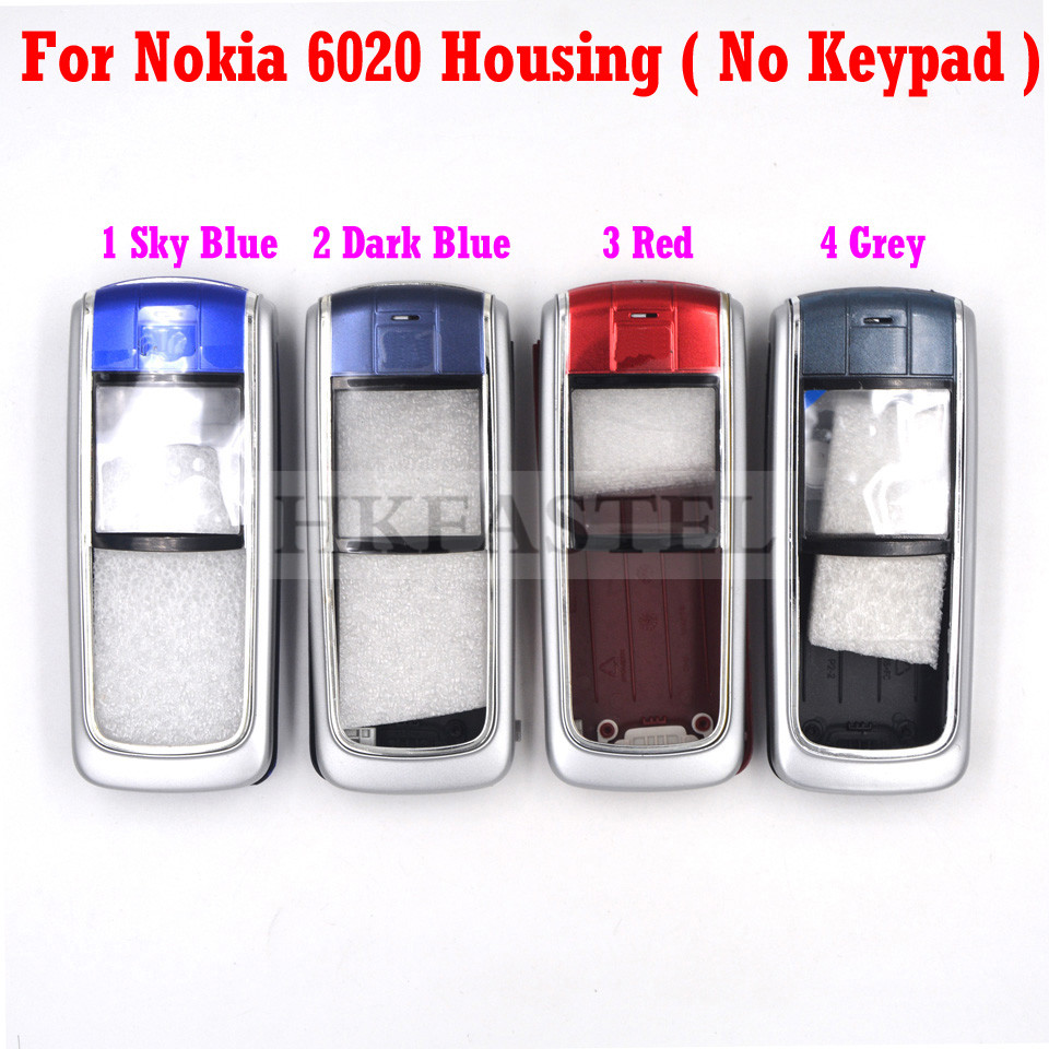 HKFASTEL New Housing Keyboard For Nokia 6020 Front LCD Display Frame Cover Back Battery Case(No  Keypad )