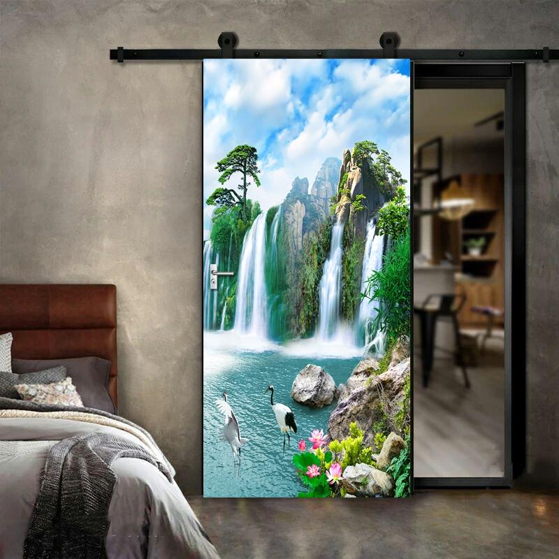 Купить 3d наклейка на дверь водопад настенная живопись для гостиной
