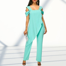 5XL Sexy Women Strap Jumpsuits Elegant Office Lady Cold Shoulder Jumpsuit Rompers Casual Wrap Holiday Beach Jumpsuit Overalls