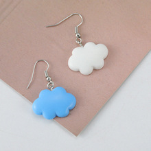 Simple and Generous Jewelry Popular Girl Blue Sky White Clouds Web Celebrity Small Earlobe Earrings
