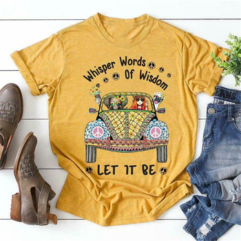Hippie Whisper Words Of Wisdom Let It Be T Shirt Men Yellow Cotton S-3Xl Harajuku Tops Fashion Classic Tee Shirt