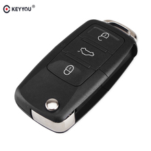 KEYYOU 3 Buttons Folding Flip Remote Key Shell Car Key Case For VW Volkswagen Bora Passat Golf Polo Jetta Sharan Touran No Blade