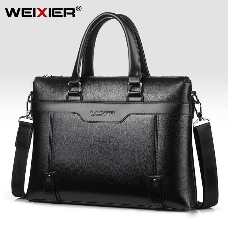 Business Men's Briefcase Bag PU Leather Handbag For Men Shoulder Bags Large Man Briefcases For 14