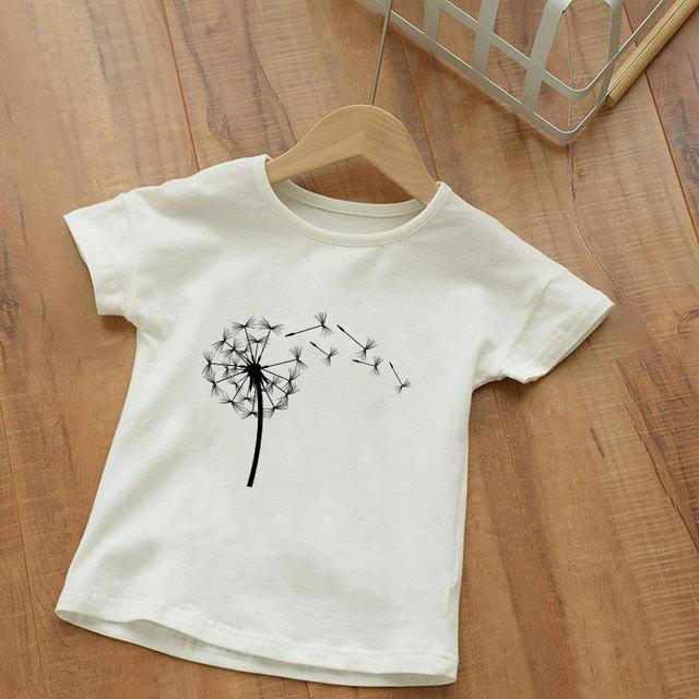 Unisexe dessin animé peint pissenlit Bouquet de fleurs sauvages imprimé enfants t-shirt filles t-shirts Vogue garçons vêtements col rond t-shirt fille