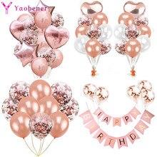 Латексные воздушные шары с конфетти, розовое золото, 1, 2, 3, 4, 5, 6, 7, 8, 9 лет
